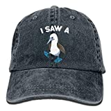 Zengyan Men's/Women's I Saw A (Blue-Footed) Booby Funny Birding Denim Fabric Baseball Cap Adjustable Hat