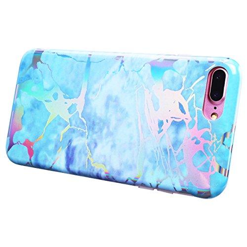 "WE LOVE CASE iPhone 7 Plus / 8 Plus Hülle Marmor Blau iPhone 7 Plus / 8 Plus 5,5"" Hülle Silikon Weich Marble Handyhülle Tasche für Mädchen Elegant Backcover , Soft TPU Flexibel Case Handycover Stoßfes Blue"