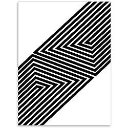 Impression sur Toile l'art De Mur,Nordic Noir Blanc Forme Géométrique Minimaliste Lignes Abstraites sur Toile Tirages Photos Rectangulaire Personnalité Photo Poster pour Décoration Peintures,24X36
