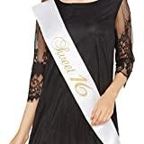 """Partyprops """"Sweet 16"""" White Satin Sash W/ Gold Glitter Letters, 16th Birthday"""