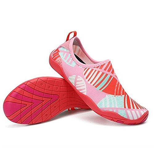 FLARUT Scarpe Acquatici da Scarpette da Bagno Mare Spiaggia Ballo Yoga Materiale Traspirante Elastico Antiscivolo Super Leggere Rapida Asciugatura Unisex Scarpe Ragazzi Donna Uomini Rosa