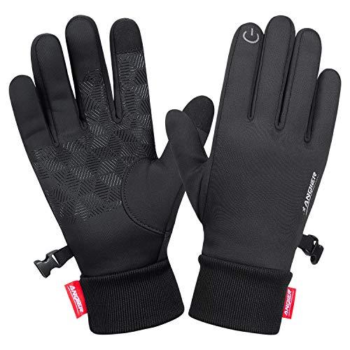 anqier Handschuhe Touchscreen Fahrradhandschuhe Männer Frauen Winter Winddicht rutschfest Warme Winterhandschuhe Herren Damen Outdoor Gloves zum Laufen Wandern Reiten Bergsteigen Motorrad