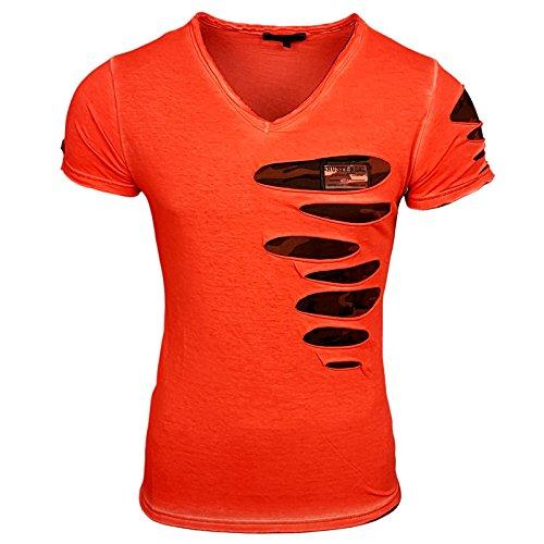 Rusty Neal Herren camo grün schwarz weiß Tshirt Druck Größe S M L M XL XXL Kurzarm RN15053, Größe:M, Farbe:Orange - Schwarze Und Weiße Camo