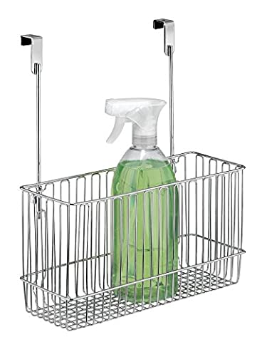 mDesign Over-the-Cabinet Kitchen Storage Organizer Basket for Aluminum Foil, Sandwich Bags, Cleaning Supplies - Chrome