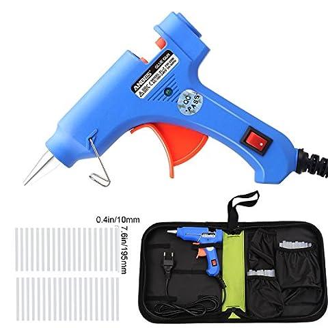 Anbes Mini Heißklebepistole,mit 40 Stück Klebesticks Klebepistole und Werkzeugtasche,Hochtemperatur Einstellbar klein Heißklebepistole ON/OFF für Elektronisch Anfänger,DIY,Handwerk,Schmuck (20W (Breite Werkzeugtasche)