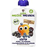 Freche Freunde Bio Quetschie 100% Apfel, Blaubeere, Johannisbeere & Brombeere Fruchtmus im Quetschbeutel für Kinder und Babys ab 1 Jahr, 6er Pack (6 x 100 g)