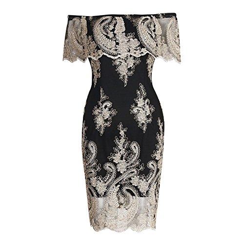 hibote Lady Vintage Floral moulante en dentelle de l'épaule élégante Slim Fit Sexy SOIRÉE Crayon robes pour les femmes Noir