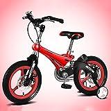 Bicyclehx Stossdämpfende Magnesiumlegierung, die Kinderbike-justierbares Höhen-Metallkinderrad in 12/14/16 Zoll für Geburtstags-Weihnachtsfest-Geschenke faltet (Color : Red, Größe : 16 inch)