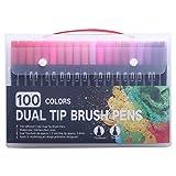 LKJHG Art Marker Pens Dual Tip Brush Pen Drawing Painting Watercolor Pen,100 Black Color