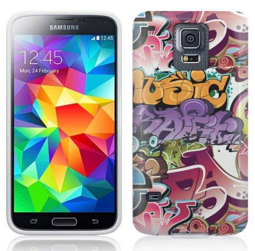 Samsung Galaxy S5 Hülle Silikonhülle (TPU) Case Cover - Graffiti Bomben Design Muster Schutzhülle für Samsung Galaxy S5