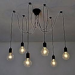 Lustre araignee,Lixada E27 Douille Rétro Industriel abat-jour Suspensions Noir,DIY Ajustable Longueur,avec 1.7m fil, 6 bras (pas d'ampoule)