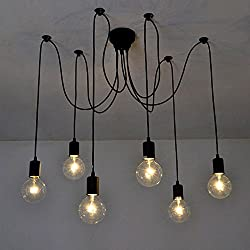Lixada 6 Arms(each with 1.7m wire) Antique Classic Edison Lamp Shade Ajustable DIY Ceiling Spider Lamp Light E27 Retro Chandelier Pendant Dining Hall Bedroom Hotel