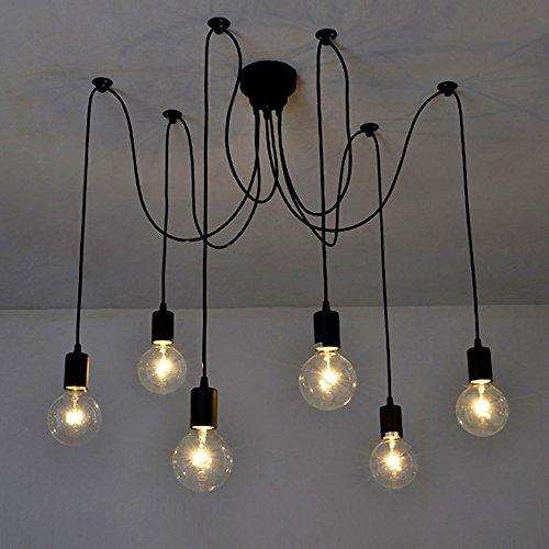 Lixada Luz Lámpara del Techo Candelabro Iluminación Retra Antigua Colgante Clásica Ajustable DIY con 6 Brazos de Araña para Bombilla E27 para Comedor Hotel Etc.(Cada cable 1.7m) (6 Brazos)