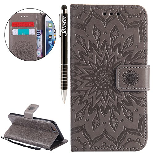 Custodia iPhone 6, iPhone 6S Cover Wallet, SainCat Custodia in Pelle Flip Cover per iPhone 6/6S, 3D Creativa Design Ultra Sottile Anti-Scratch Book Style Custodia Morbida Cover Protettiva Caso PU Leat grigio