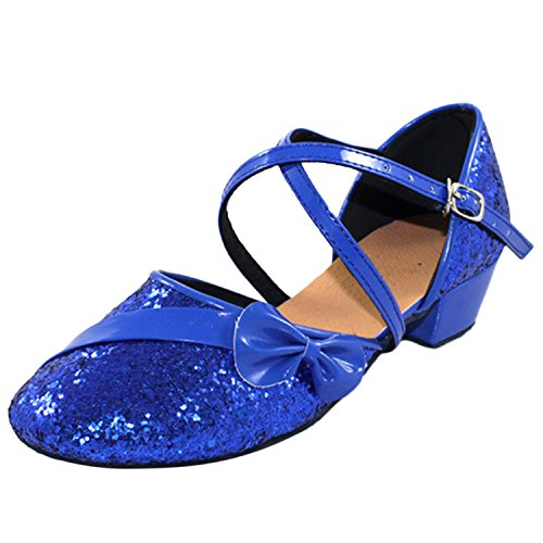 Oasap Girl's Round Toe Boe Sequins Cross Strap Latin Dance Shoes Blue