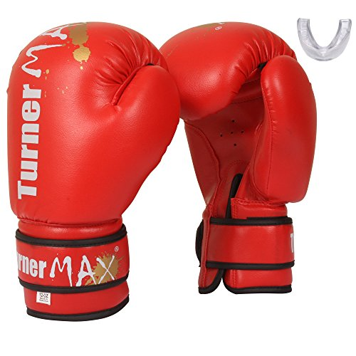 TurnerMAX Boxhandschuhe Kick Martial Arts Sparring Tasche Rot mit frei, rot rot 227 g