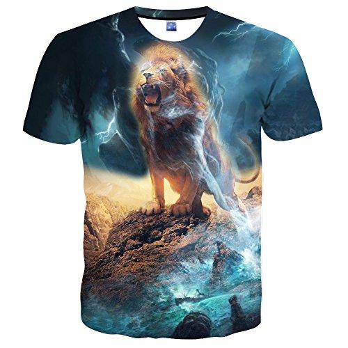 Syaimn Unisex 3D Pattern Print Kurzarm T-Shirts Beiläufige Grafik T-Shirts Multicoloured 36