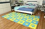 Menu Life 10pcs Bleu et jaune enfant bébé souple en mousse EVA d'activité Tapis de jeu salle de jeu dalles de sol Gril Tapis de puzzle