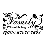 CAOLATOR Wandtattoo *Family Love Never Ends * Englische Sprüche Wandsticker PVC Abnehmbar Wandaufkleber Mode Blumen und Schmetterlinge Klebeband Aufkleber Deko Für die Schlafzimmer Kinderzimmer Schwarz (31*57cm)