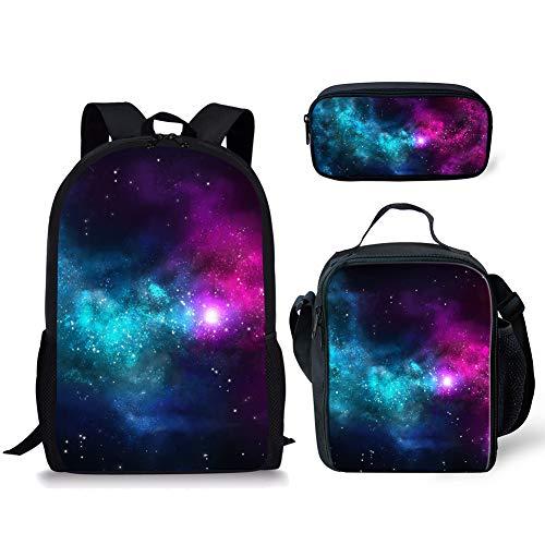 POLERO Galaxy Universe Printed Mädchen Jungen Schule Rucksäcke Set Rucksack mit Lunch Box Mäppchen Kinder Bookbag Schultaschen für Mädchen Elementary Students Schoolbag 3 in 1 Sets