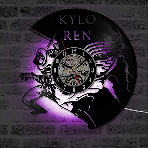 Mchoff Creative Hollow CD Record Reloj de Pared Clásico Kylo Ren Art Vinilo Antiguo Hecho a Mano Decoración para el hogar Reloj Colgante LED con 7 Colores
