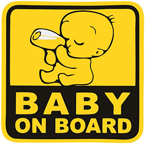 Asmi Collections Baby on Board Stickers for Car. Size - 15(W) * 15(H) cm