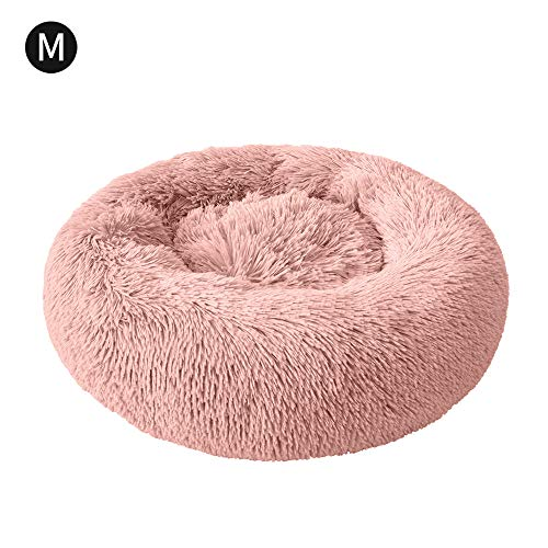 NIBESSER Haustierbett Hundebett Katzenbett Rundes Plüsch Hundesofa Katzensofa Kissen in Doughnut-Form -