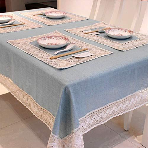 Simple blue tovaglia in lino cotone bordo in pizzo rettangolare antipolvere copridivano per tavolo da tè frigorifero di alta qualità blu 40x40cm / set di 2