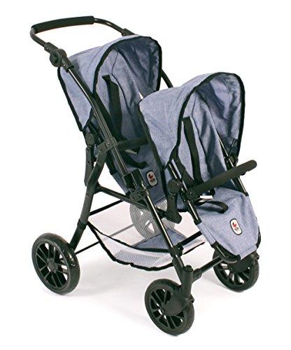 """Preisvergleich Produktbild Bayer Chic 2000 691 50 - Tandem-Buggy """"Twinny"""", Zwillingspuppenwagen für Puppen bis ca. 50 cm, Jeans Blue"""
