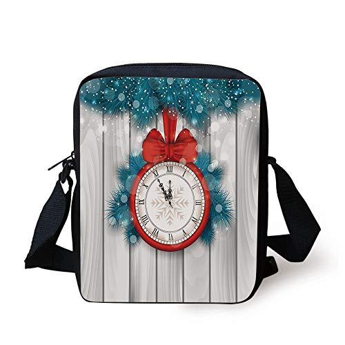 Red Fir, Red Lights (Clock Decor,New Year Midnight A Clock and Fir Branch Illustration Decorations for Home,Red Light Grey Print Kids Crossbody Messenger Bag Purse)
