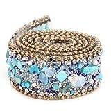 HEEPDD 2.5cm Rhinestones de Cristal de la Cinta, DIY Artificial de Malla Wrap Rollo de la Cadena de Ajuste de Bandas Apliques para el Banquete de Boda arreglos Florales(#02)