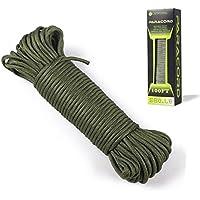 Paracord 550 Cordón de paracaídas –Tipo III 7Strand cuerda de nailon 100%, Army Green