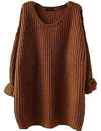 Minetom Mujer Otoño Invierno Primavera Jerséy Suéter Manga Larga Tapas Suelto Pullover