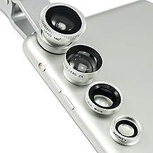 First2savvv JTSJ-4N1-A16 - Pack de lentes para HTC Desire Eye (ojo de pez, gran angular, macro y barlow), plateado