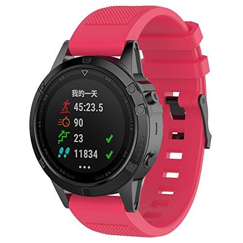 HappyTop Garmin Fenix 5/Fenix 5 Plus - Correa de Repuesto para Reloj de Pulsera DE 22 mm de liberación rápida, Correa de Silicona con Kit de reparación, Color Hot Pink, Deportes