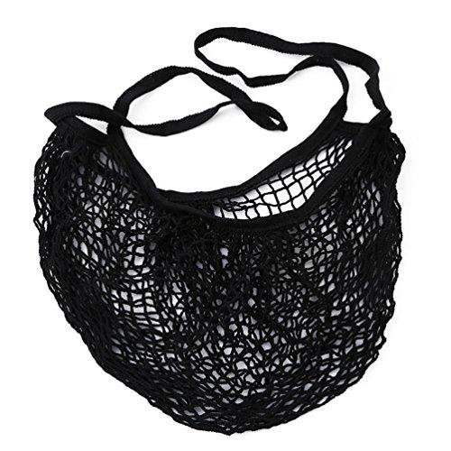 Albeey Wiederverwendbar Saite Lebensmittels Shopper, Shopper Tote Mesh Net Woven Cotton Bag String Shopping Bag (schwarz) (Woven Shopper)