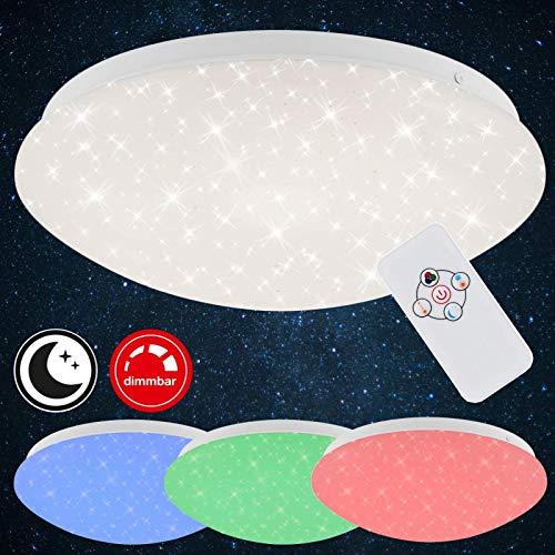 Briloner Leuchten LED Deckenleuchte mit Fernbedienung, Farbwechsel-Option, Nachtlichtfunktion, dimmbar, Metall, 10 W, weiß