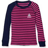 Odlo Niños Camiseta L/S Crew Neck Warm Kids Unte rhemden LG.Pulsera KI, Otoño-Invierno, Infantil, Color Peacoat - Beetroot Purple, tamaño 152