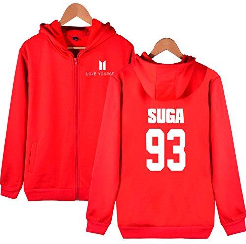 SIMYJOY KPOP Love Yourself Pullover BTS Fans Felpa Zip con cappuccio Hip Hop Felpa per Uomo Donna Adolescente rosso SUGA 93
