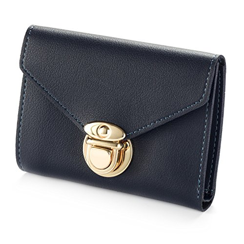 Geldbörse, kurz, mehrere Karten, für Damen, einfarbig, Schnalle, einfache, multifunktionale Geldbörse, königsblau (Blau) - qs-7507 -