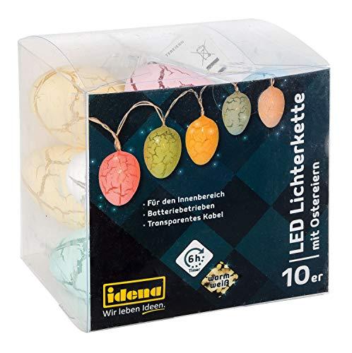 Idena LED Lichterkette mit 10 LED warmweiß und Eiern in Pastellfarben, batteriebetrieben, mit 6 Stunden Timer Funktion, für Ostern, Frühling, Deko, als Stimmungslicht, ca. 1,65 m -