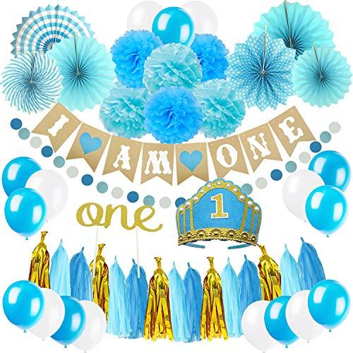 eburtstag Dekoration, I AM ONE Banner Gilande mit Papier Fan Blume, Pompoms, 1 Jahr Pailletten Krone, One Cake Topper, Quasten Girlande, Papiergirlande und Ballons - Blau ()