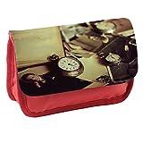 Annata 004, Orologio Tempo, Rosso Scuola Bambini Sublimazione di alta qualità Polyester Astuccio Matita Caso con Design Colorato. 21x13 cm.