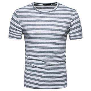 Men's Stripe T-Shirt,Boy Stretch Slim Fit Tee T-Shirt Short Sleeve Summer Casual Round Neck Pullover T-Shirt Top (S, Grey)