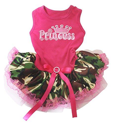 n HOT PINK Baumwolle Shirt Camouflage Spitze Tutu 1Hund Kleid ()