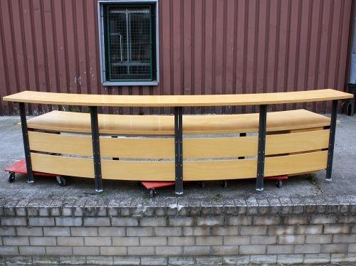 Empfangstheke, 400x110cm, Buche hell, Echtholzfurnier, 1x abschließbarer Unterschrank