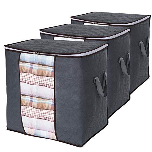 Lifewit borsa porta abiti grande capacità con manico rinforzato tessuto migliorato per trapunte, coperte, portaoggetti pieghevole traspirante con cerniera robusta, grigio, confezione da 3