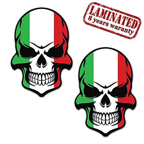 2 Stück Vinyl Italien Flagge Schädel Totenkopf Aufkleber Autoaufkleber Stickers Auto Moto Motorrad Fahrrad Helm Fenster Tuning B 130