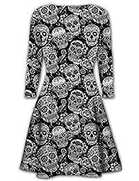 Fast Fashion - Robe Bodycon Élégantes Manches Longues Imprimé Squelette - Femmes