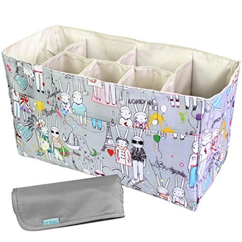 kf-baby-diaper-bag-insert-organizer-14-x-64-x-8-inch-gray-diaper-changing-pad-value-combo